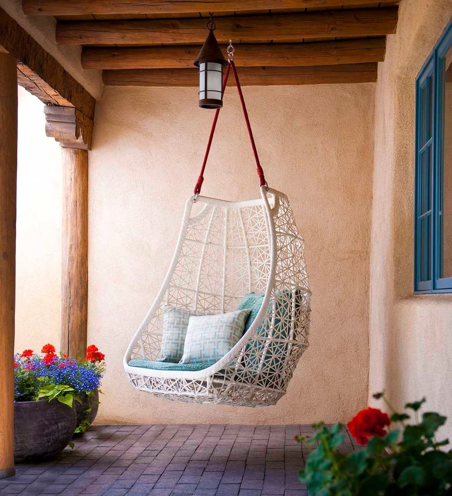 Santa Fe Furniture Stores   Southwestern Patio  and Adobe Brick Paving Clean Egg Chair Exposed Beams Hanging Chair Modern Outdoor Cushions Patio Furniture Stucco Swing