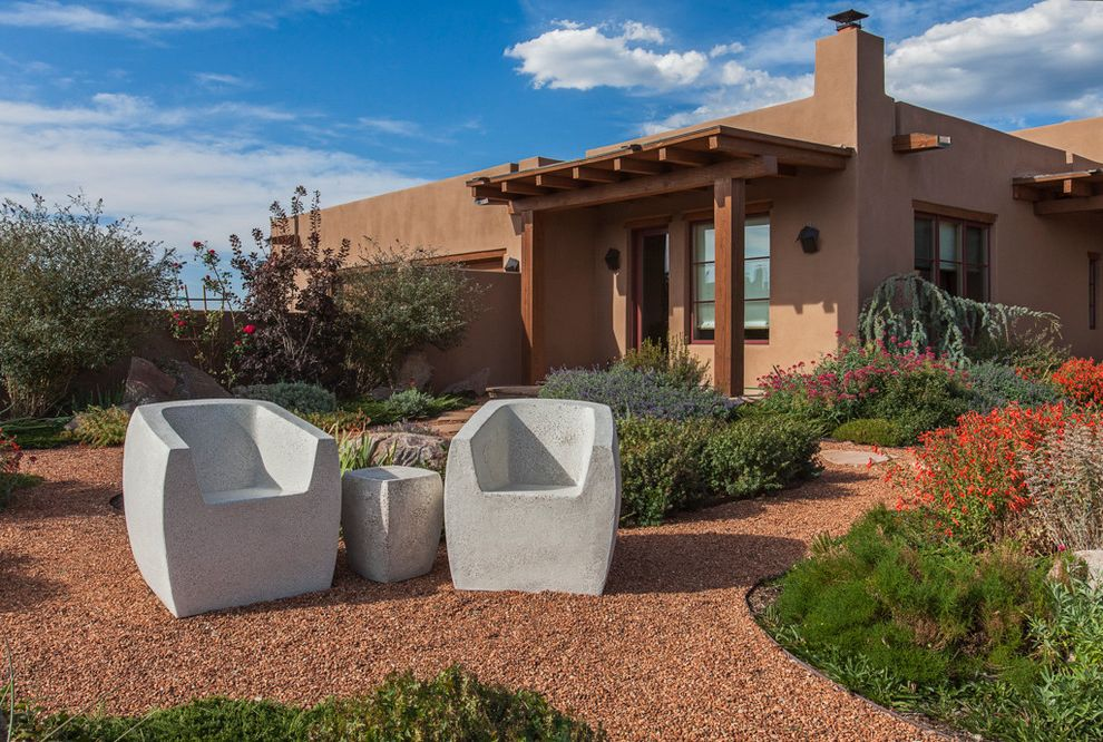 Santa Fe Furniture Stores with Southwestern Exterior  and Concrete Furniture Denver Interior Designers Desert Landscape Exposed Beams Flat Roof Gravel Patio Moss Outdoor Pueblo Style Santa Fe Courtyard