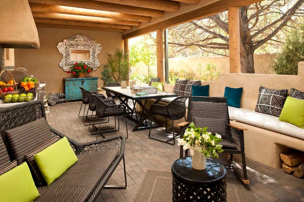 Santa Fe Furniture Stores with Southwestern Porch Also Adobe Banco Beams Built in Sofa Clean Contemporary Covered Patio Lime Green Loggia Mirror Outdoor Dining Porch Throw Pillows Timbers Turquoise Cabinet Woven Outdoor Furniture