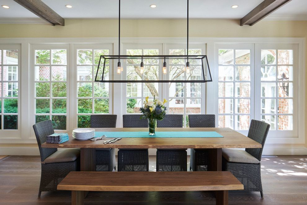 Satin Nickel Light Fixtures with Transitional Dining Room  and Dining Benches Exposed Wood Beams Industrial Dining Light Long Wood Dining Table Natural Light Teal Table Runner White Window Panes