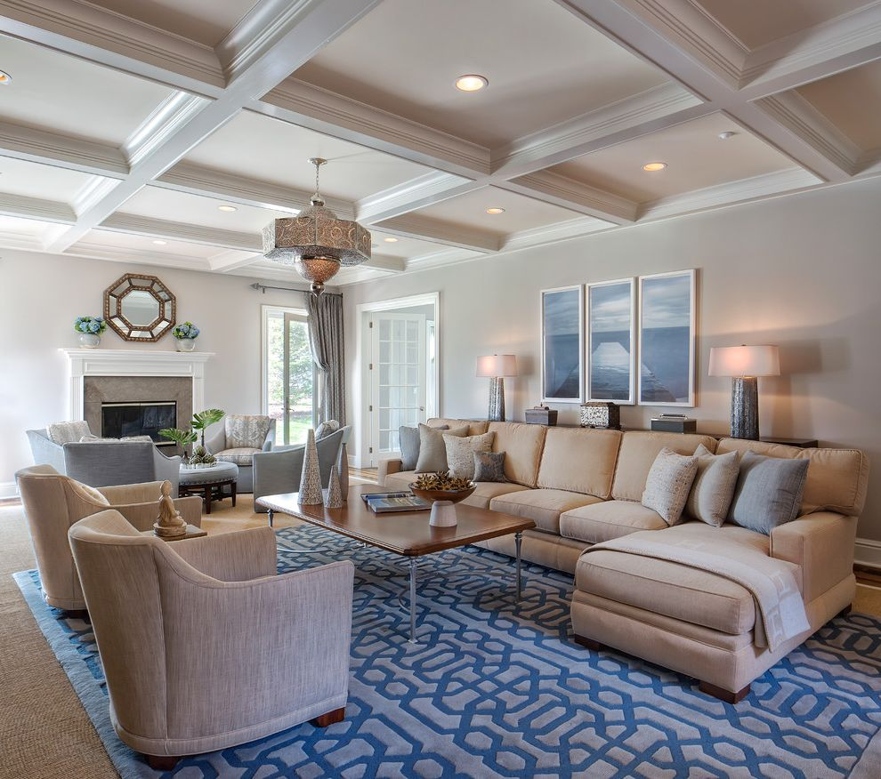 Saunders Furniture with Traditional Living Room  and Accessories Beams Blue Blue Area Rug Chandelier Coffee Table Coffered Ceiling Cream Fireplace Fireplace Mantels Gas Fireplaces Sectional Sisal Wall Unit Window Treatments