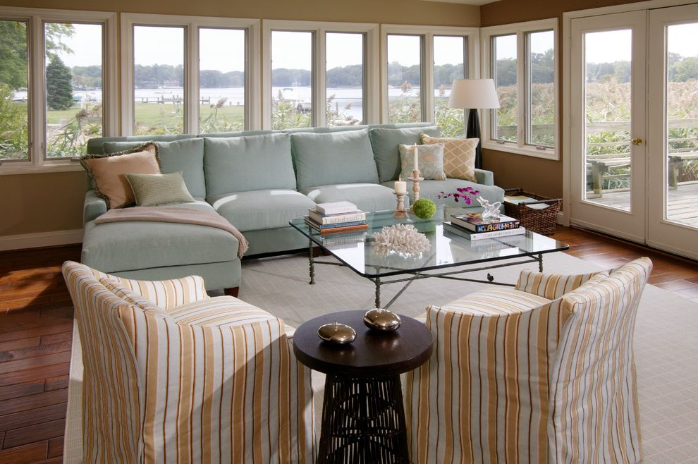 Savvy Shopper Direct   Beach Style Living Room Also Blue Sofa Coastal Coral Cottage Ice Blue Indoor Outdoor Ocean View Sectional Sofa Shells Slipcover Striped Side Chairs Windows Wood Side Table