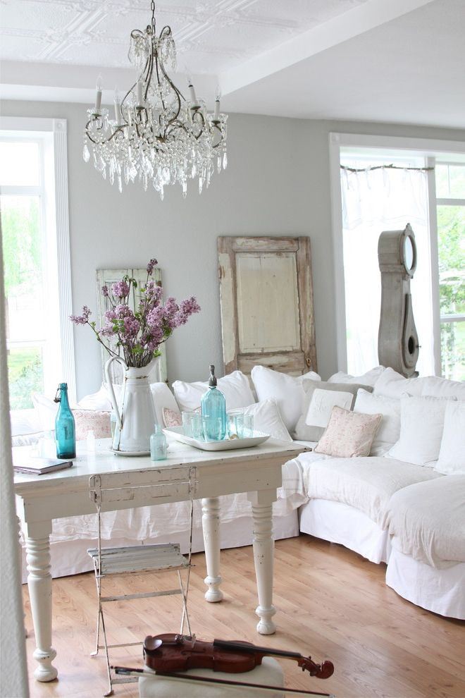 Savvy Shopper Direct   Shabby Chic Style Living Room  and Bistro Chair Bottles Chandelier Door Flea Market French Grandfather Clock Lilac Parisian Pitcher Shabby Chic Sofa Tablescape Typography Vintage Violin White