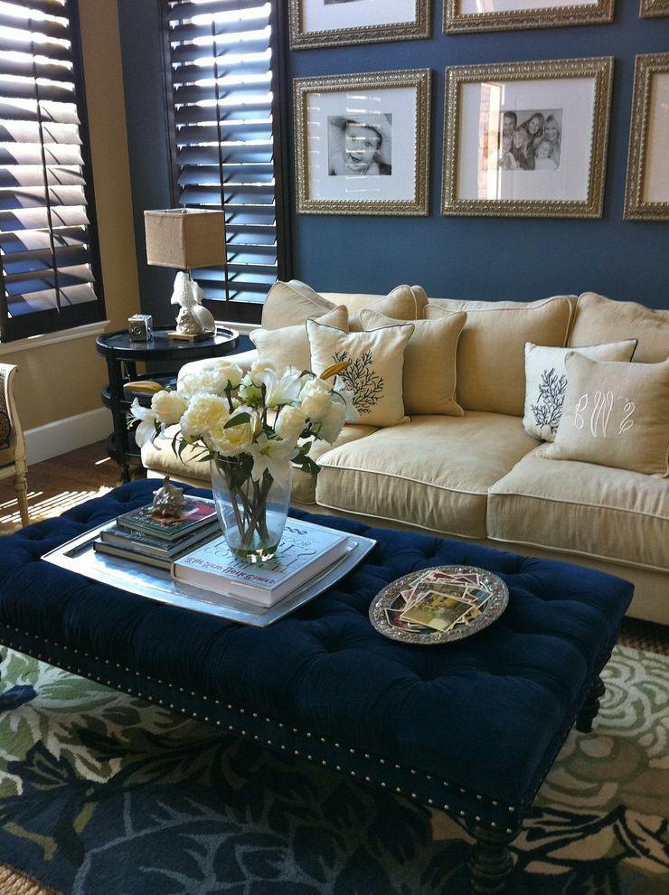 Savvy Shopper Direct with Beach Style Family Room Also Area Rug Blue Blue Velvet Coastal Dark Wood Panels Espresso Shutters Linen Monogram Ottoman Upholstered Photo Collection Side Table Tufted