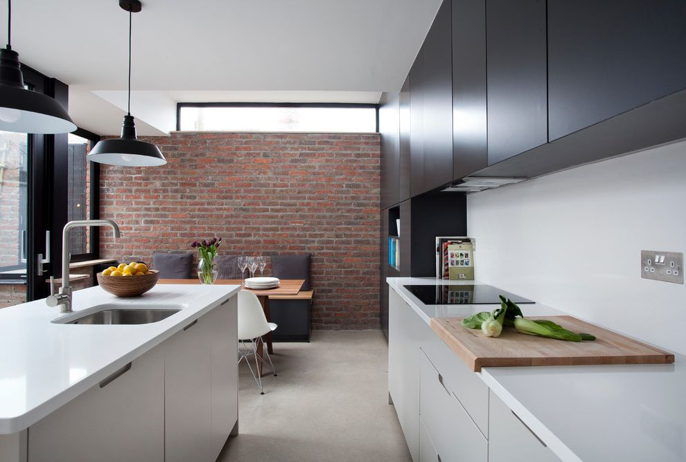 Savvy Shopper Direct with Contemporary Kitchen  and Black and White Contrast Exposed Brick Wall Ireland Pendant Lights Red Brick Two Tone Wood Table