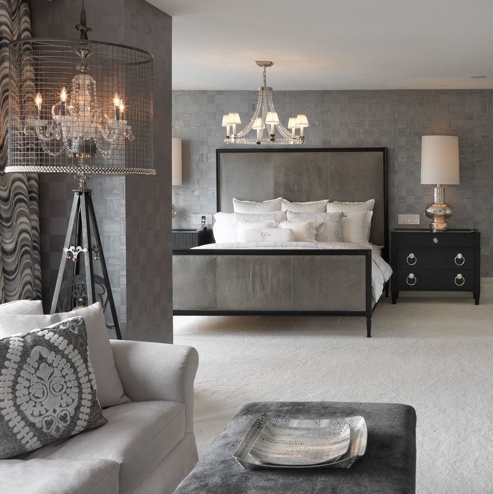 Savvy Shopper Direct with Transitional Bedroom  and Chandelier Contemporary Eclectic Gray and White Gray Upholstered Bed Textured Walls White Carpet White Couch