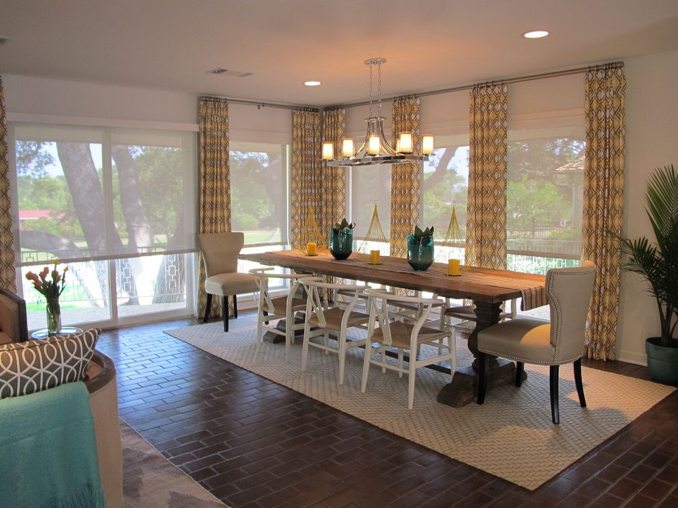 Scalloped Roller Shades   Traditional Dining Room Also Brick Floors Geometric Pattern Curtains Roller Shades Sliding Glass Door Solar Shades Transitional Dining Room White Walls Yellow Curtains