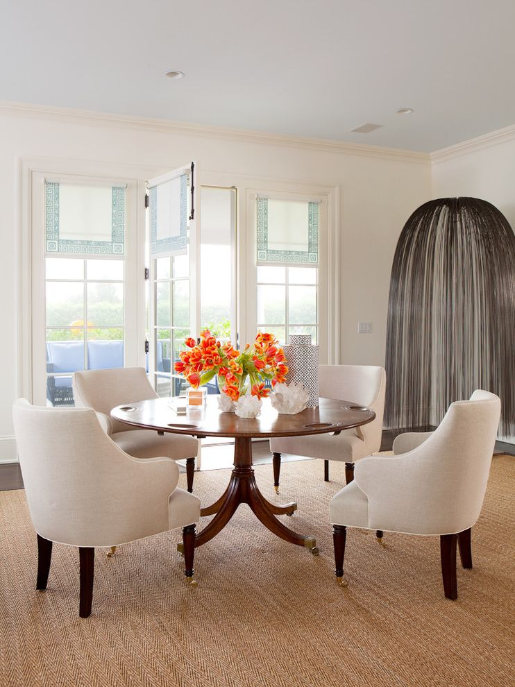 Scalloped Roller Shades   Transitional Dining Room Also Beige Area Rug Glass Door Greek Key Fabric Modern Round Wood Dining Table Walkout White Upholstered Chair