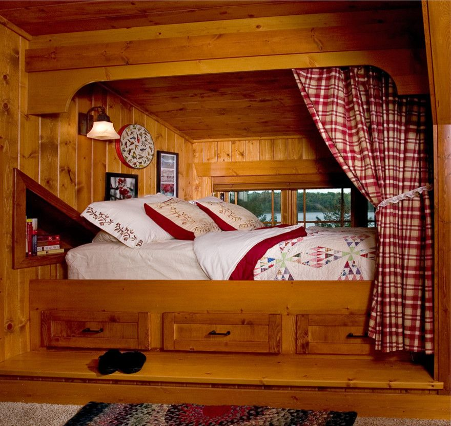 Scandinavian Mattress   Rustic Bedroom  and Built in Bed Built in Bed Bunk Cabin Dormer Bed Kids Sleeping Area Lake Lake Home Lodge Loft Log Nook Rustic Sleeping Nook Timber