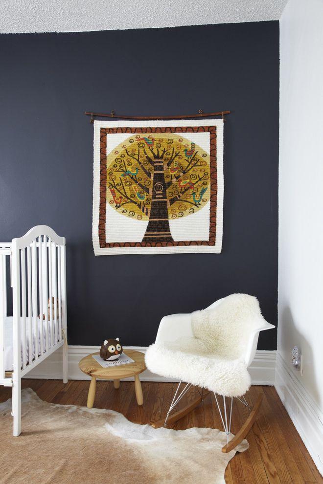 Scandinavian Mattress with Scandinavian Kids Also Accent Wall Animal Skin Art Baby Bed Blue Blue Paint Blue Wall Chair Modern Rocking Chair Rocking Chair Stool Wood Floor