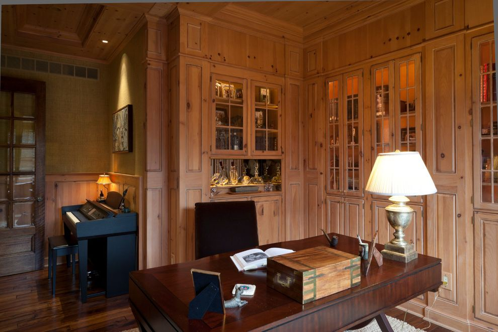 Schuster Homes   Traditional Home Office  and Built in Lighting Built in Storage Custom Panelling Library Music Room Recessed Lighting Study Wainscoting Wallpaper Wet Bar Wood Cabinetry Wood Flooring