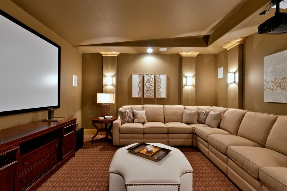 Sconces Definition   Traditional Home Theater Also Beige Sectional Sofa Bright Media Room Cheerful Media Room Contemporary Artwork Dallas Media Room Faux Leather Ottoman Leather Ottoman Sectionals Transitional Media Room Wall Sconces Well Lit Media Room