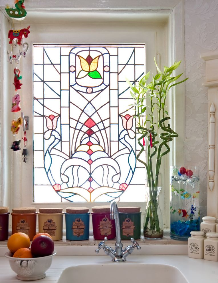 Scotch Glass Name with Victorian Kitchen and Bamboo Food Storage Fruit Bowl Leaded Windows Mobile Stained Glass
