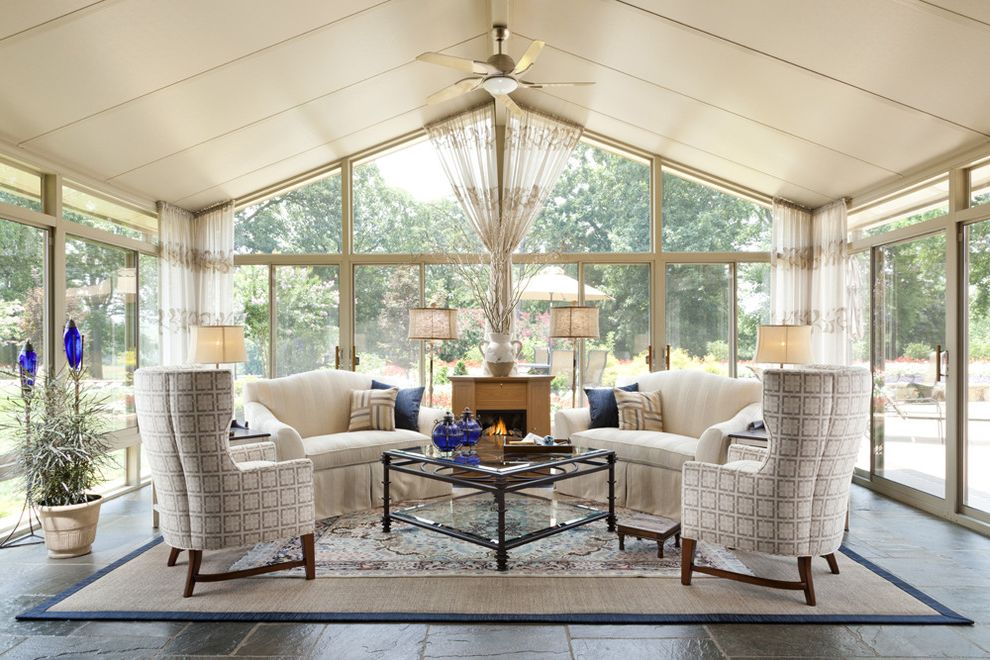 Scott Miller Salon   Traditional Sunroom  and Armchairs Ceiling Fan Indoor Plants Lamps Sisal Rug Sofa