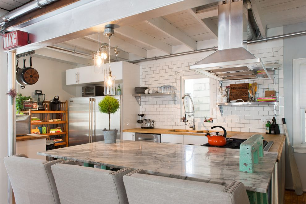 Scratch and Dent Appliances Katy with Eclectic Kitchen Also Eclectic Findings Exit Sign Exposed Beams Glass Votive Pendant Industrial Faucet Kitchen Nailhead Detail Orange Kettle Potted Plant Remodel