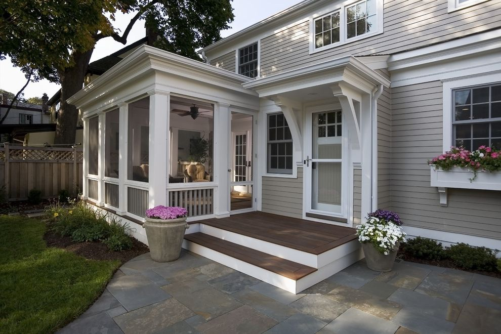 Screen Porch Kits   Traditional Porch  and Container Plants Deck Entrance Entry Flagstone Potted Plants Screen Door Screened Porch White Trim Window Boxes Wood Siding