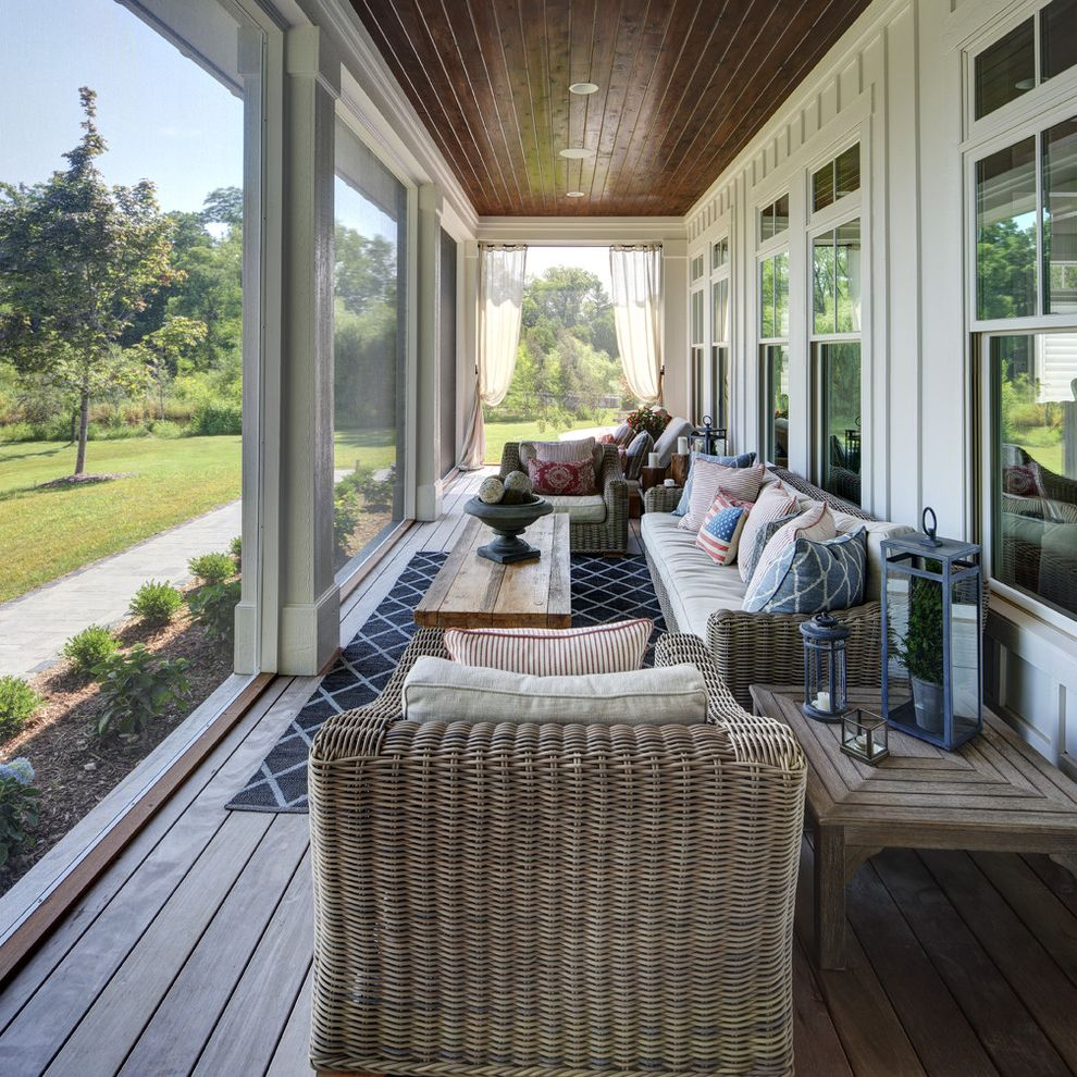 Screen Porch Kits with Farmhouse Porch Also Fire Pit Indoor Outdoor Lake Home Lake View Outdoor Dining Outdoor Furniture Outdoor Living Wicker Chairs Wood Cieling
