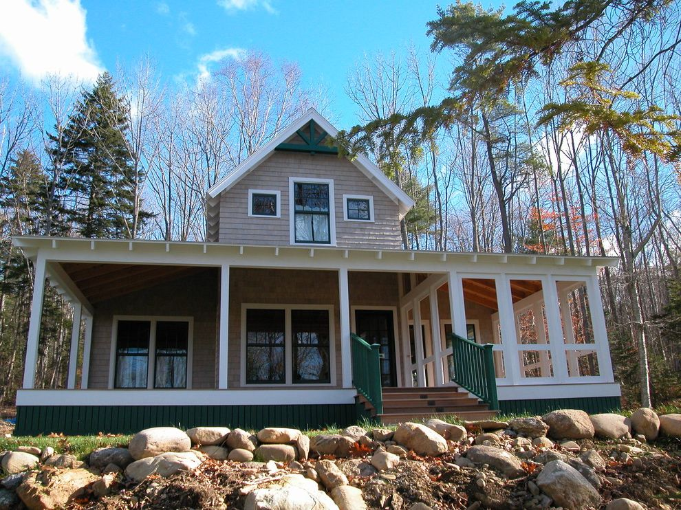 Screen Porch Kits with Traditional Exterior Also Entry Gable Roof Green Trim Porch Screened Porch Shingle Steps Sunroom Tongue and Groove Paneling White Painted Trim White Posts Wrap Around Porch