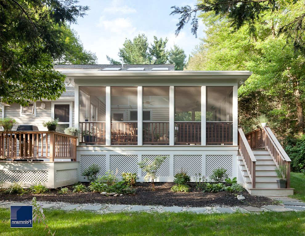 Screen Porch Kits with Traditional Porch Also Deck Foundation Planting Grass Lattice Lawn Outdoor Stairs Screen Porch Turf Wood Railing