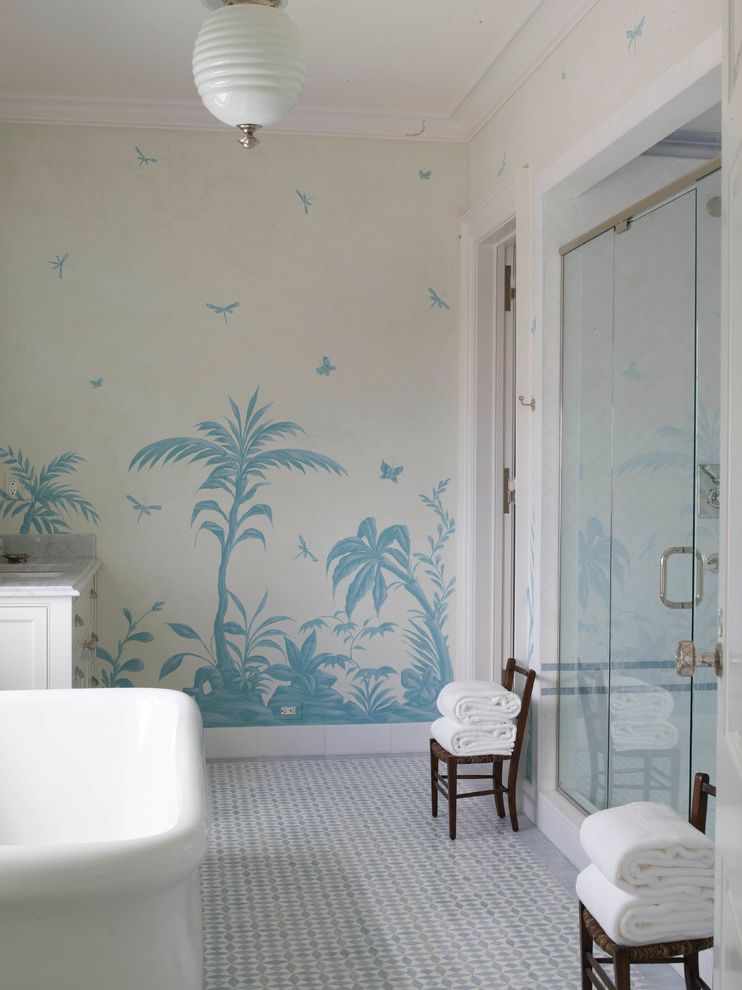 Sea Captains House   Beach Style Bathroom Also Antiques Beach Style Blue and White Bathroom Childrens Chairs Towels