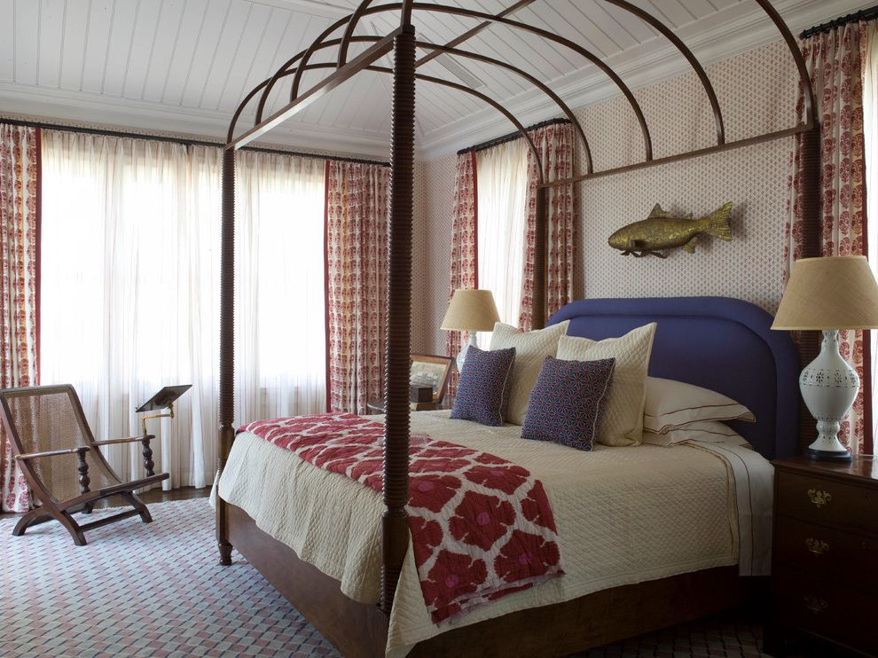 Sea Captains House   Beach Style Bedroom Also Antiques Beach Style Bed Pillows Bedding Table Lamps