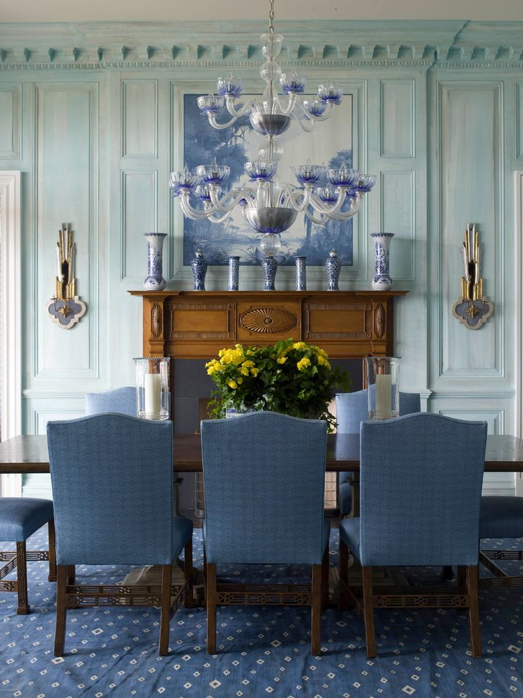 Sea Captains House   Beach Style Dining Room  and Antiques Beach Style Blue and White Dining Tables