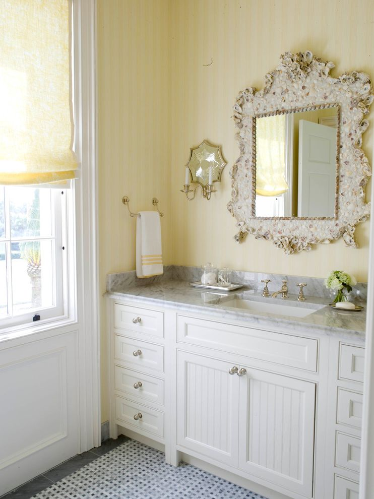 Sea Captains House with Beach Style Bathroom  and Antiques Beach Style Shell Mirror Towel Racks White Bathroom