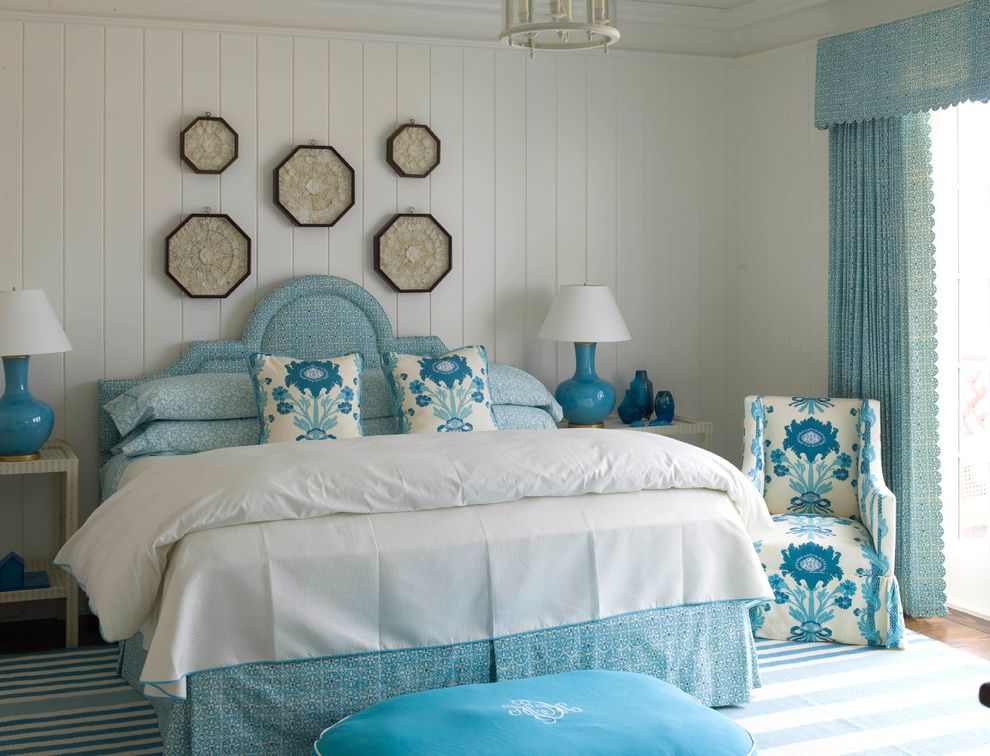 Sea Captains House with Beach Style Bedroom  and Accent Chairs Antiques Beach Style Bedding Table Lamps