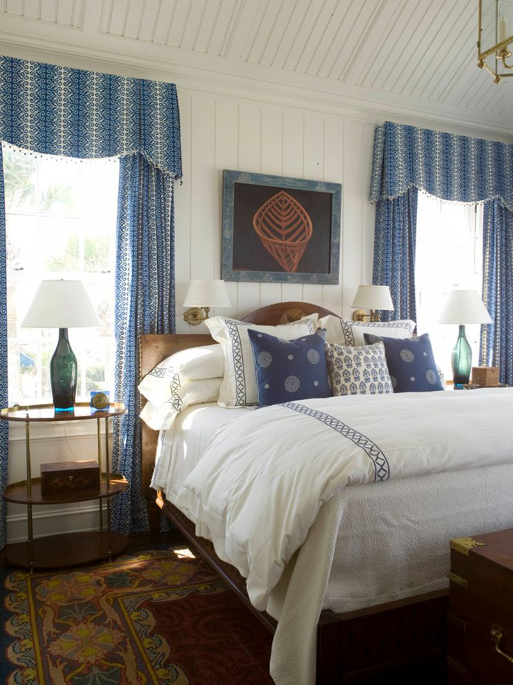 Sea Captains House with Beach Style Bedroom  and Antiques Beach Style Bed Pillows Bedding Floor Lamps