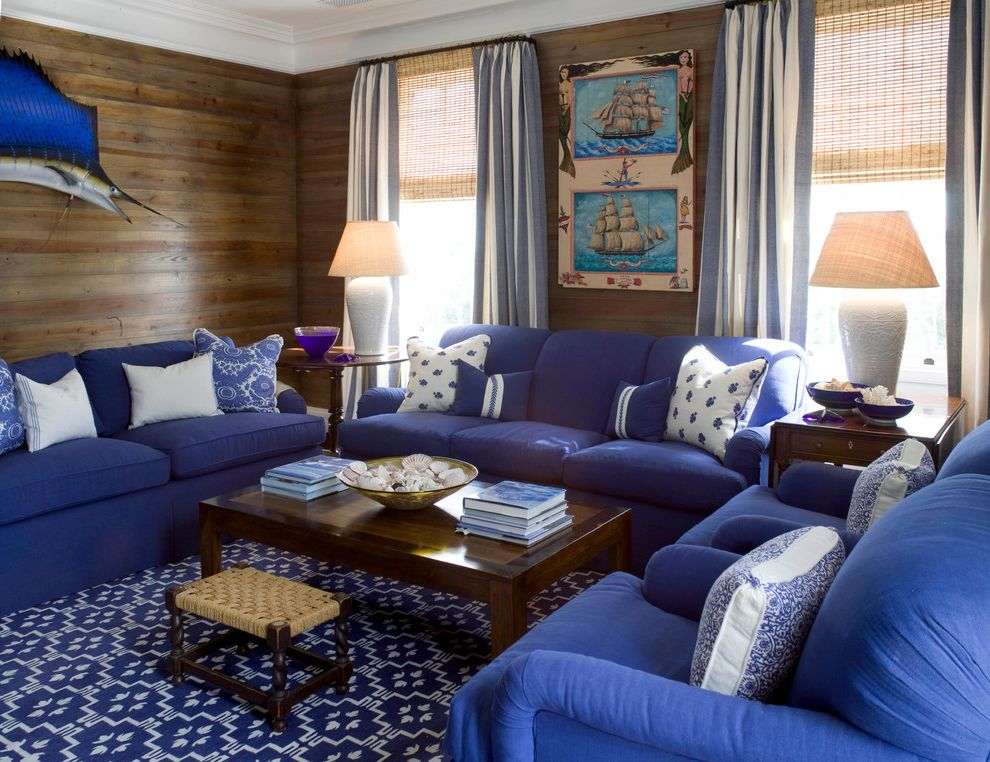Sea Captains House with Beach Style Family Room Also Antiques Beach Style Blue and White Coffee Tables Sofas