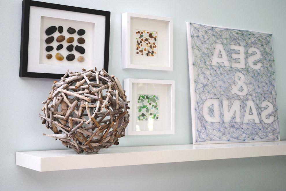 Sea Glass Art Ideas   Beach Style Spaces Also Beach Home Diy Driftwood Sea Glass Shells Wall Art