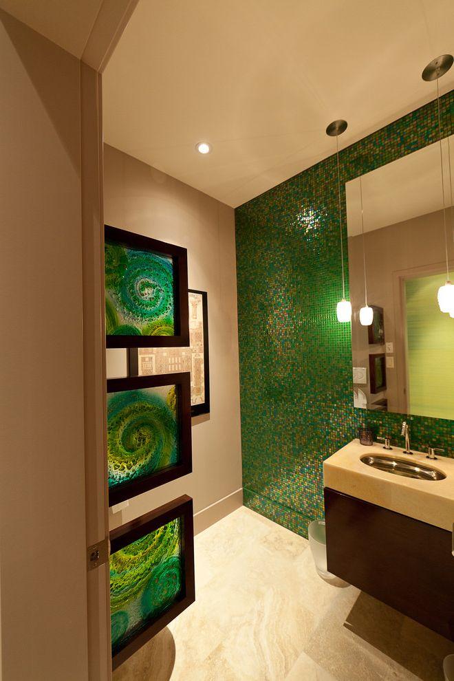 Sea Glass Art Ideas   Contemporary Bathroom  and Accent Wall Bathroom Lighting Bathroom Tile Floating Vanity Green Walls Mosaic Tile Pendant Lighting Tile Wall Wall Art Wall Decor Wall Mount Vanity