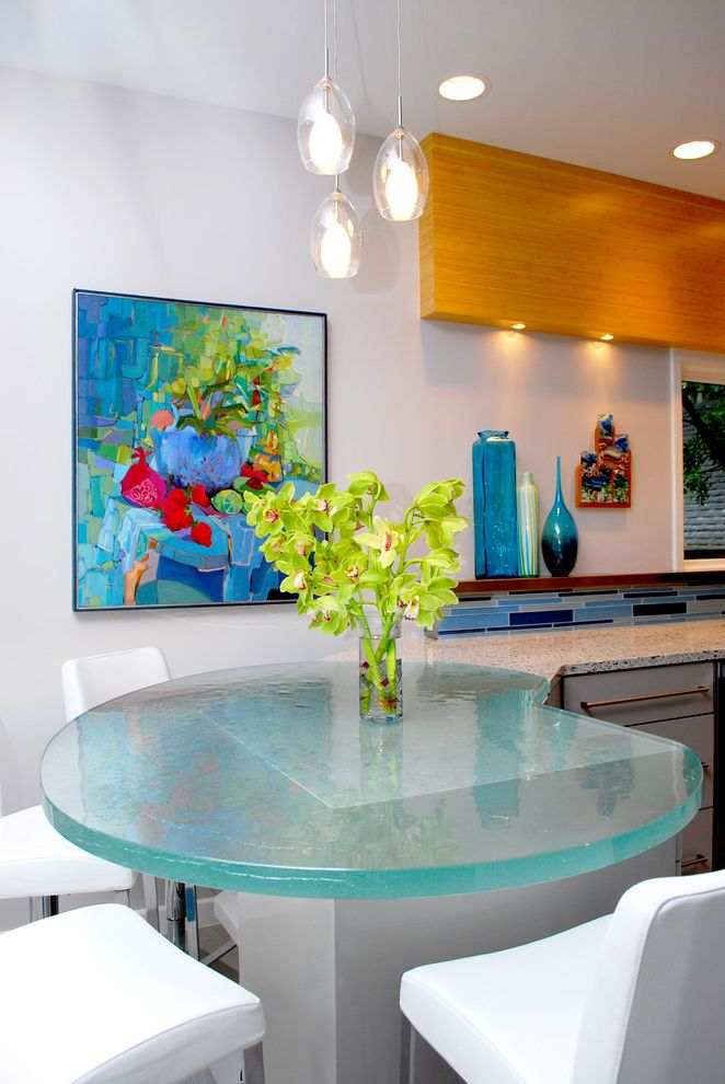 Sea Glass Art Ideas   Contemporary Kitchen  and Artwork Blue Tile Countertops Eat in Kitchen Glass Dining Table Pendant Lighting Peninsula White Dining Chairs Wood Wood Floating Shelf