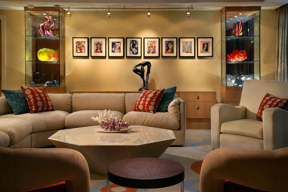 Sea Glass Art Ideas   Contemporary Living Room  and Art Arrangement Glass Sculpture Glass Shelves Octagon Octagonal Coffee Table Sectional Sofa