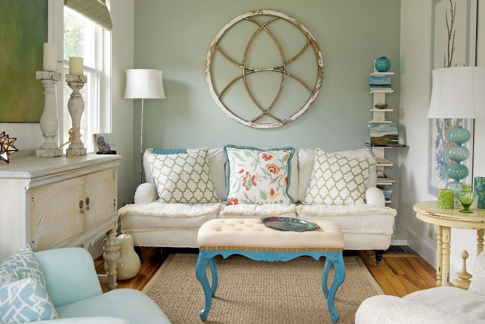 Sea Glass Art Ideas   Eclectic Living Room  and Candleholder Pillar Candleholder Turquoise Accents Turquoise Bench Turquoise Lamp Wall Decor White Couch White Sofa