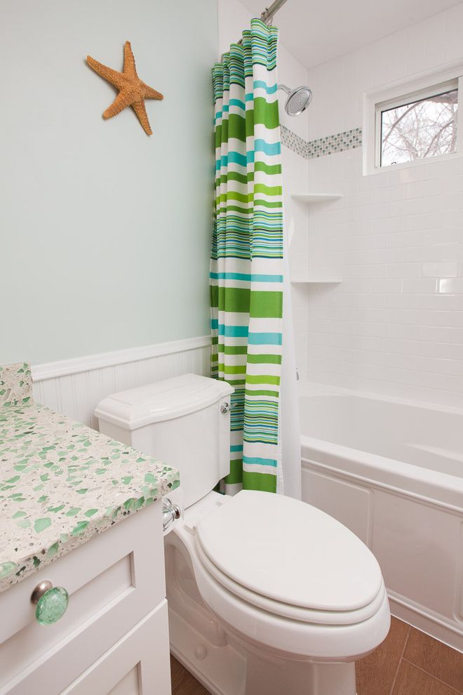 Sea Glass Art Ideas with Beach Style Bathroom  and Beadboard Coastal Glass Countertops Glass Knobs Mosaic Tile Recycled Glass Shower Tub Striped Shower Curtain Tile Stripe Wainscoting White Bathroom