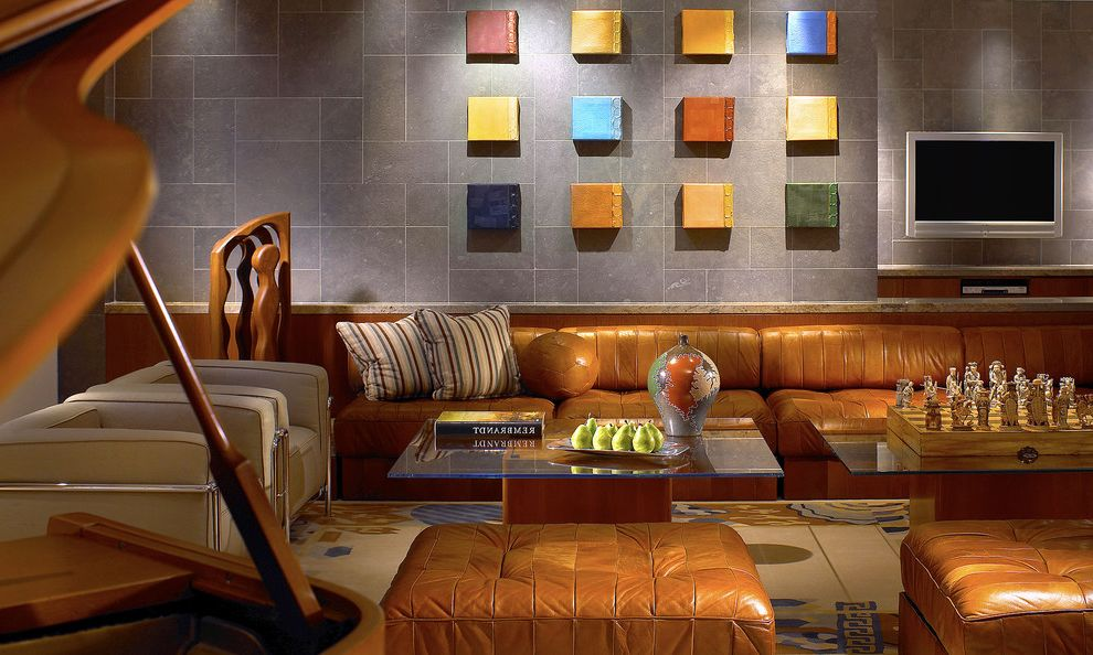 Sea Glass Art Ideas with Contemporary Home Theater  and Area Rug Arm Chairs Art Chess Set Glass Topped Coffee Tables Leather Bench Leather Ottoman Piano Tile Wall Tv