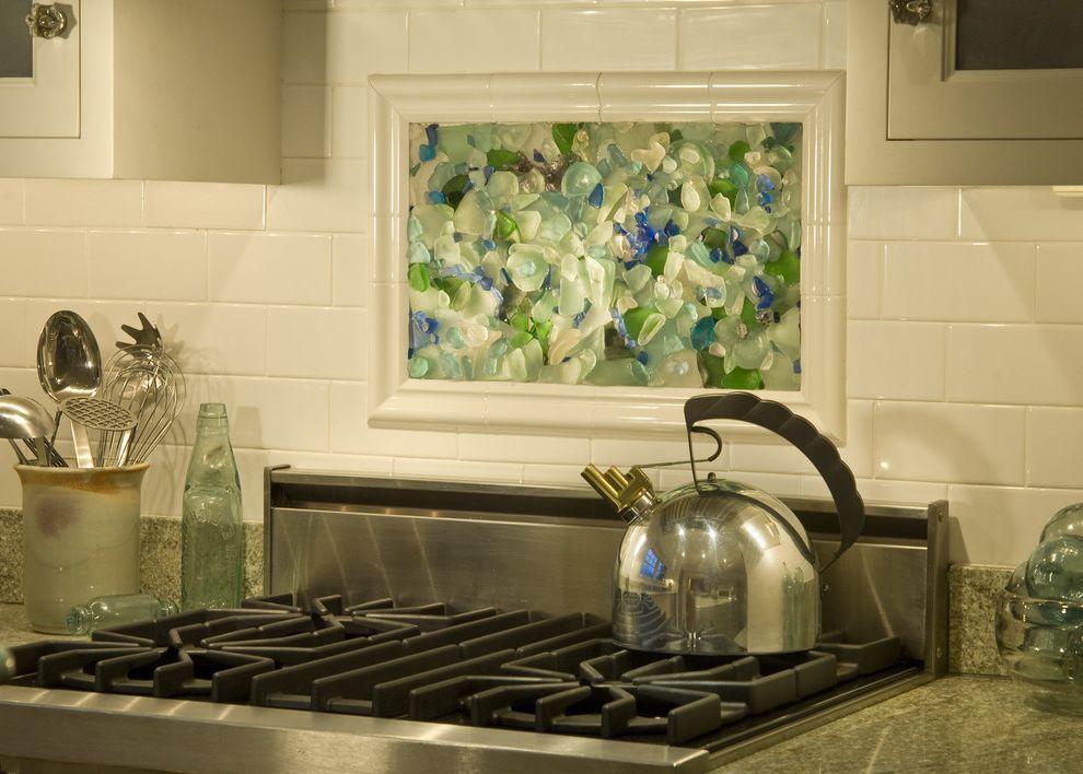 Sea Glass Art Ideas with Traditional Kitchen  and Blue Glass Crystal Cabinet Pulls Green Glass Mosaic Mosaic Backsplash Natural Backsplash Range Sea Glass Sea Glass Mosaic Subway Tile Tile Detail White Backsplash