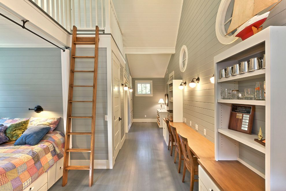 Seawall Beach Maine with Beach Style Bedroom  and Beadboard Bunk Bed Cottage Craftsman Desk Grey Painted Floor Ladder Loft Modern Craftsman Painted Floor Painted Wood Floor Vaulted Ceiling