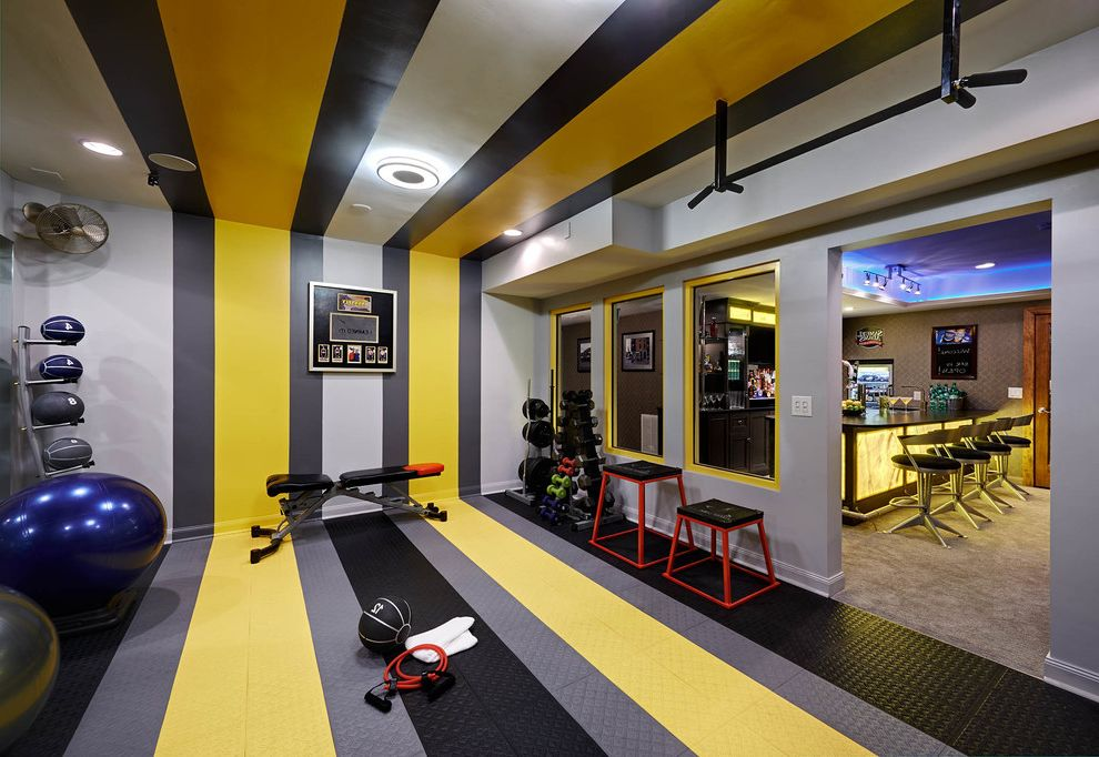 Security Bars for Residential Windows   Contemporary Home Gym Also Colorful Gray Walls Gym Equipment Striped Ceiling Striped Floors Striped Walls Weight Room Weights Workout Equipment Yellow Stripes