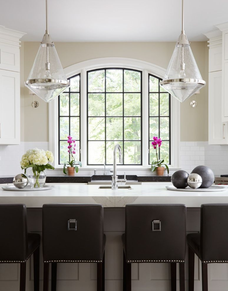 Security Bars for Residential Windows with Transitional Kitchen  and Arch Window Bar Stools Bright Custom Farm Sink Neutral Pendant Lights Porcelain Second Sink White Countertop
