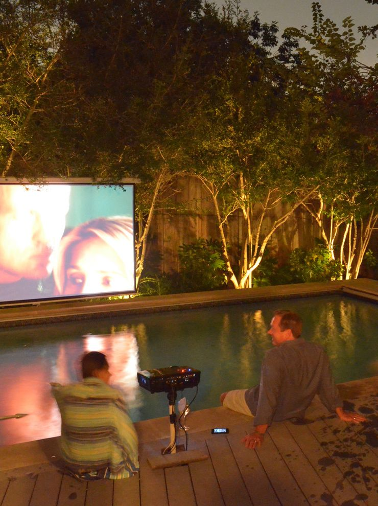 Security Camera That Connects to Phone with Contemporary Pool and Film Lounge Media Modern Movie My Houzz Night Outdoor Outside Pool Poolside Projection Screen Umbrella Watch