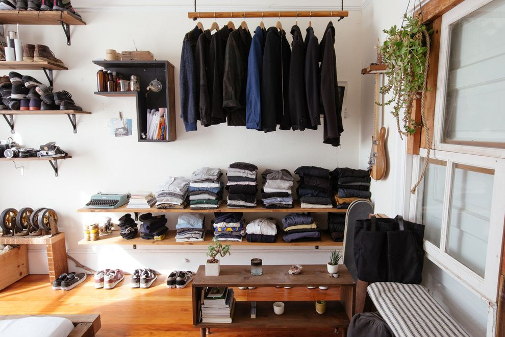 Security Camera That Connects to Phone with Eclectic Closet and Clothing Rod Diy Industrial My Houzz Open Closet Open Shelves Open Shelving Reclaimed Glass Reclaimed Windows Recycled Windows Shoe Shelves White Wall Wood Bench Wood Floor Wood Shelves