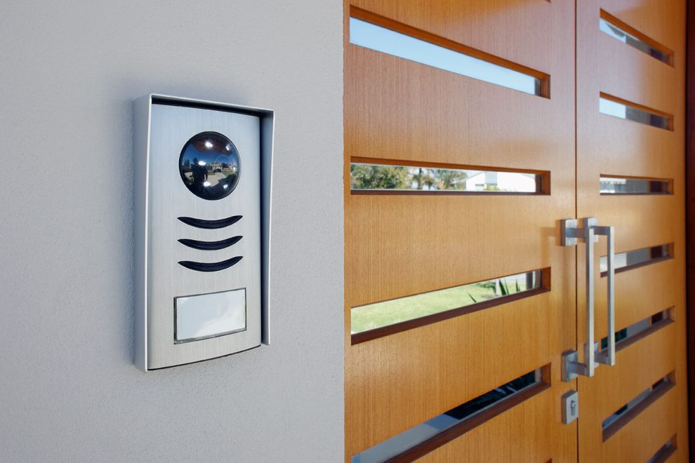 Security Camera That Connects to Phone with Modern Entry and Intercom Lighting Music Security