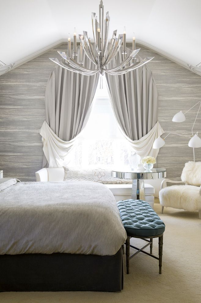 Serge Mouille Chandelier with Transitional Bedroom Also Bedroom Bench Chandelier Drapery Elegant Floor Lamp Glam Luxury Neutral Sitting Area Sophisticated Wall Treatment
