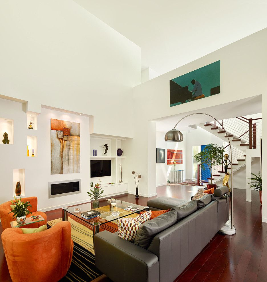 Servpro Charleston Sc   Contemporary Living Room Also Arc Lamp Art Lighting Contemporary Artwork Entry Leather Sofa Modern Decor Niche Orange Chairs Rug Staircase Tall Ceilings