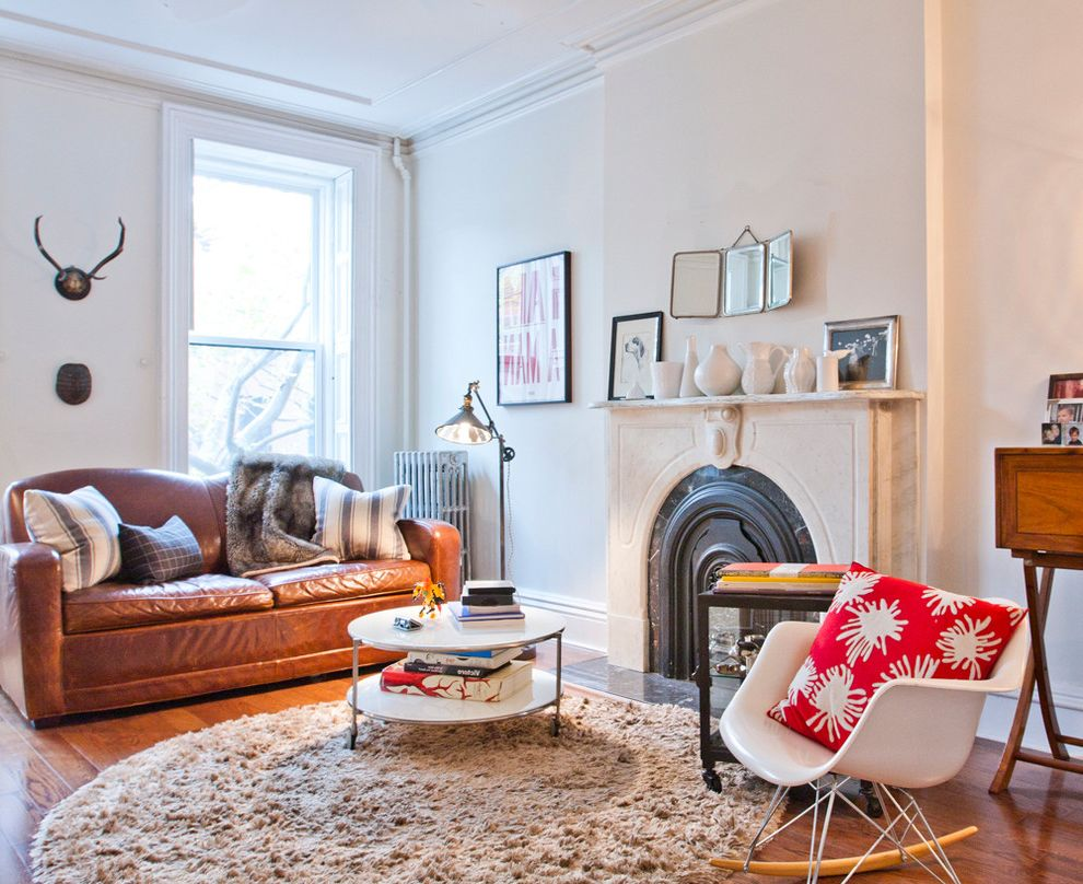 Shag Rugs Ikea   Eclectic Living Room Also Antlers Beige Shag Rug Beige Wall Brown Leather Sofa Floor Lamp Fur Rug Round Shag Rug Stone Fireplace Ledge Stone Fireplace Mantel White Coffee Table White Rocking Chair