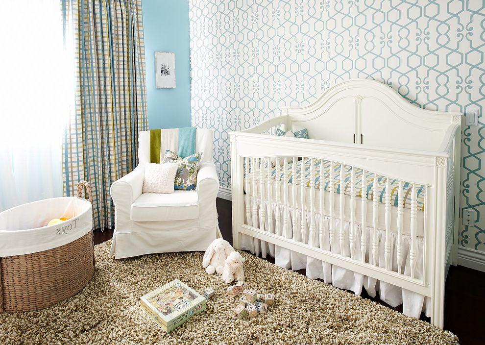 Shag Rugs Ikea   Traditional Nursery  and Armchair Baby Room Basket Blue Wall Crib Bedding Curtain Cushions Mixed Patterns Nursery Shag Rug Slipcover Wallpaper White Crib