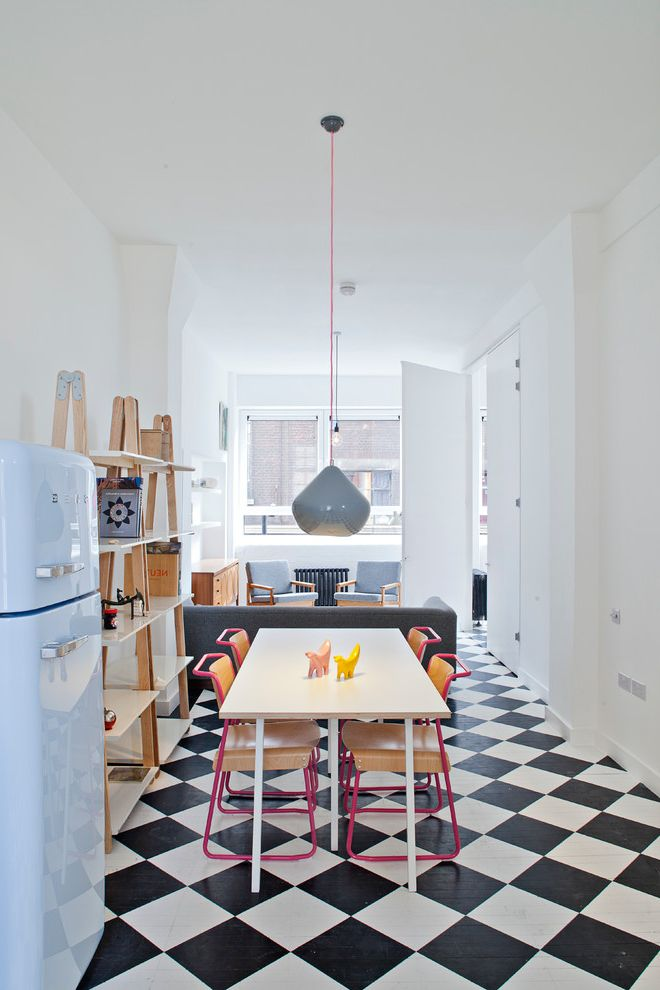 Shake Shack New Haven   Scandinavian Dining Room  and Black and White Floor Checkerboard Floor Checkered Floor Gray Pendant Light Midcentury Modern Smeg Studio Flat White Kitchen