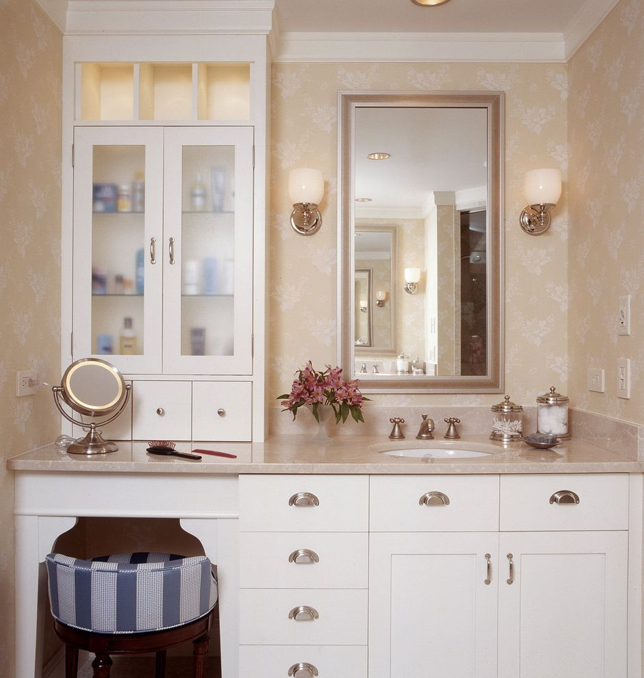Shallow Depth Cabinets   Traditional Bathroom Also Blue Stripe Built in Cabinet Crown Molding Cubbies Cup Plus Frosted Glass Makeup Mirror Marble Counter Niche Pale Yellow Vanity Stool Wall Sconce Wallpaper White Painted Cabinets
